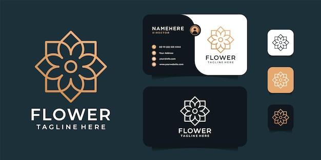 高級ラインの花のロゴのデザインテンプレート。