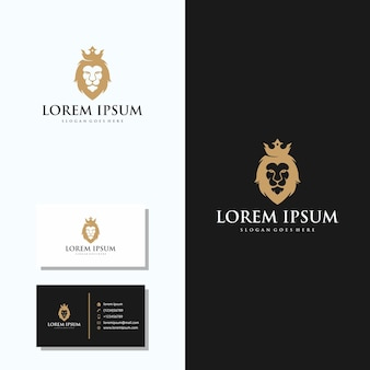 Luxury lion head logo with business card logo design