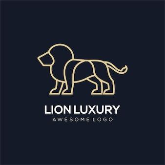 Роскошная иллюстрация логотипа линии льва золотого цвета для компании