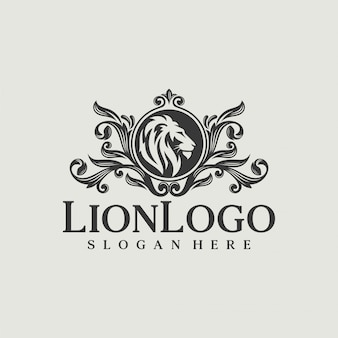 Luxury lion logo design vector template