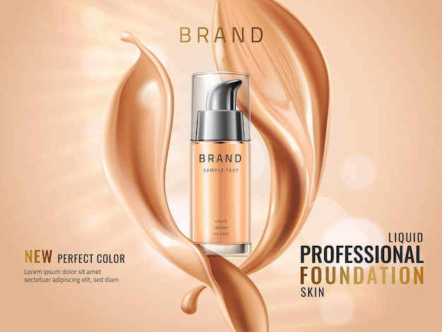 Luxury liquid foundation ads glass transparent bottle with liquid creamy texture isolated on glitter