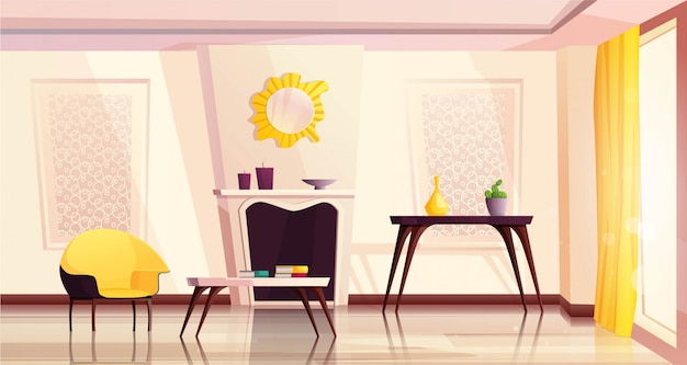 Luxury living room interior with yellow armchairs, table, fireplace, a window and a curtain.