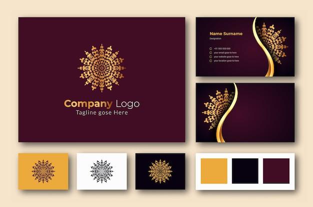 豪華な装飾用曼荼羅アラベスクと豪華なロゴと名刺のデザインテンプレート