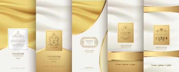 Дизайн роскошного логотипа и золотой упаковки