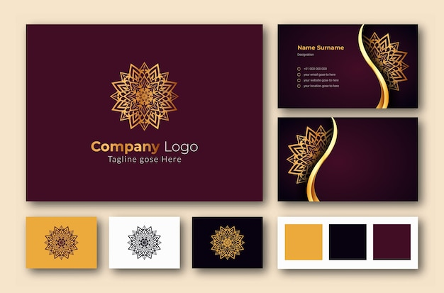 Luxury logo and business card design template with luxury ornamental mandala arabesque