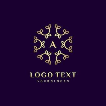 あなたのブランドの花の装飾で贅沢なロゴコンセプトデザインレター(a)