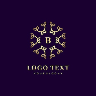 Luxury logo concept design letter (b) for your brand with floral decoration