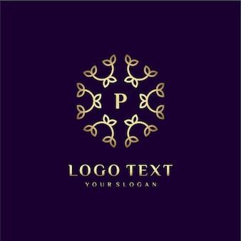 Luxury logo concept design letter (p) for your brand with floral decoration
