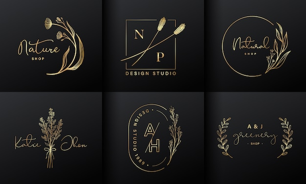 브랜딩을위한 럭셔리 로고 디자인 컬렉션, 기업 정체성