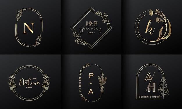 럭셔리 로고 디자인 컬렉션. 브랜드 로고, 기업 정체성 및 웨딩 모노그램 디자인을위한 이니셜과 꽃 장식이있는 황금 엠블럼.