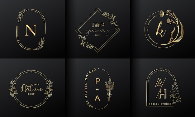 Luxury logo design collection. golden emblems with initials and floral decorative for branding logo, corporate identity and wedding monogram design.