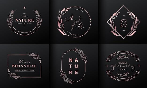 럭셔리 로고 디자인 컬렉션. 브랜드 로고, 기업 정체성 및 웨딩 모노그램 디자인을위한 이니셜 및 꽃 장식이있는 로즈 골드 엠블럼.