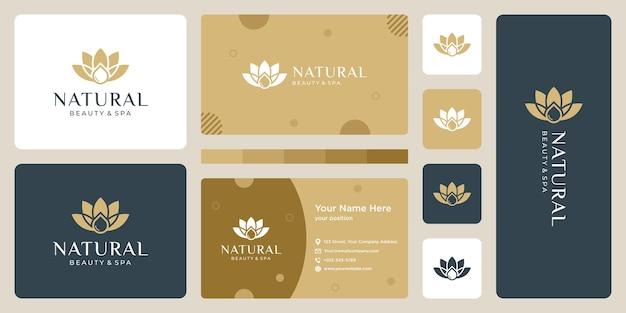 豪華なロゴデザインコンセプト、花蓮のロゴ、美容またはスパのロゴテンプレート