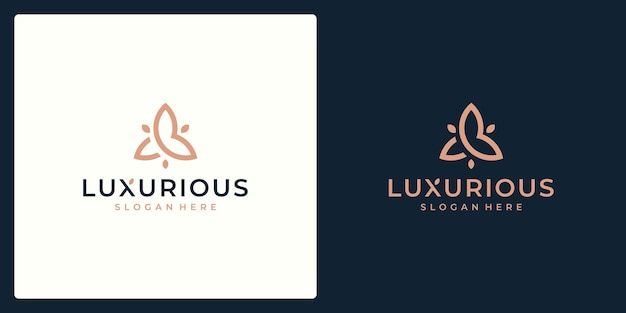 Роскошная концепция дизайна логотипа, логотип цветок лотоса, шаблон логотипа красоты или спа