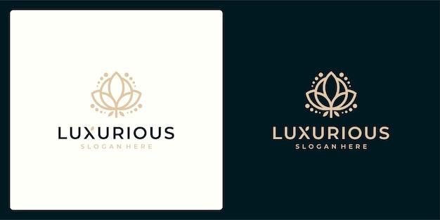 럭셔리 로고 디자인 컨셉, 꽃 연꽃 로고, 뷰티 또는 스파 로고 템플릿