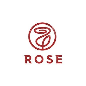 Luxury logo design for red flower rose logo premium vector