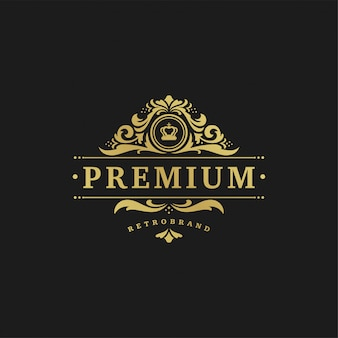 Luxury logo design template vector illustration victorian vignettes ornaments.