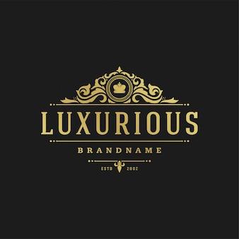 Luxury logo design template vector illustration victorian vignettes ornaments.