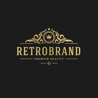 Luxury logo design template vector illustration victorian vignettes royal ornament shapes for logotype or label design.