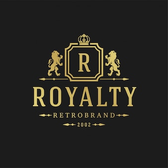 Luxury logo design template vector illustration victorian vignettes royal ornament shapes for logotype or label design.
