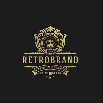 Luxury logo design template  . victorian vignettes ornament shapes   design.