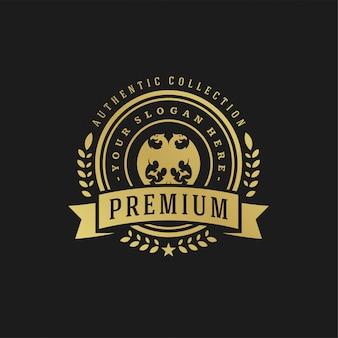 高級ロゴデザインテンプレートビクトリア朝のビネットロゴタイプまたはバッジのデザインのための王室の装飾図形