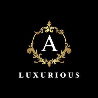 모노그램 문자 a, 황금색, 고급스러운 장식이있는 고급 로고 디자인