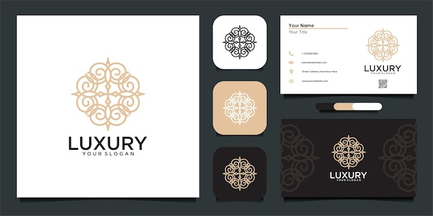 Luxury logo design with stylish ornament and business card