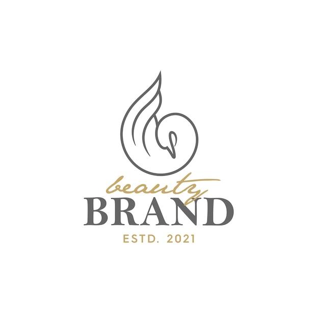 백조 일러스트와 함께 럭셔리 로고 디자인입니다. 로고 미용 및 살롱에서 사용하기에 적합
