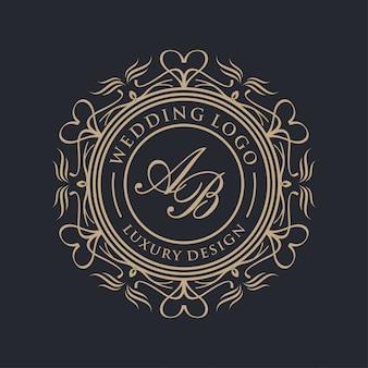 결혼식을위한 호화스러운 로고