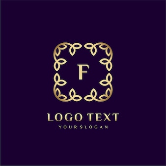Luxury logo template (f) for your brand with floral decoration