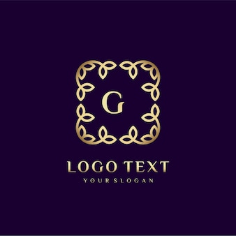 Luxury logo template (g) for your brand with floral decoration