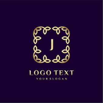 Luxury logo template (j) for your brand with floral decoration