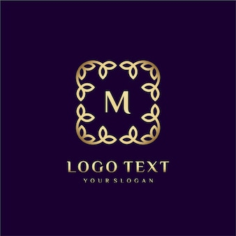 Luxury logo template (m) for your brand with floral decoration