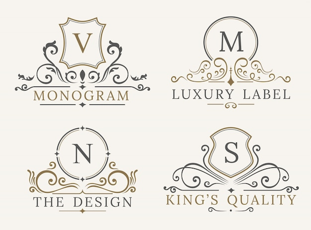 Luxury logo template. shield business sign for signboard