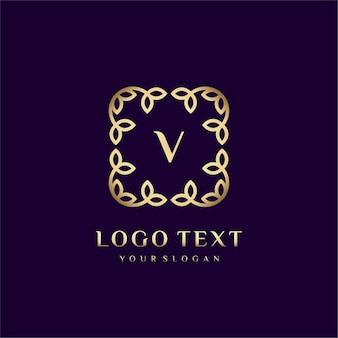 Роскошный логотип (v) для вашего бренда с цветочным декором