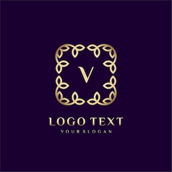 Luxury logo template (v) for your brand with floral decoration