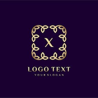 あなたのブランドの花の装飾で贅沢なロゴテンプレート(x)