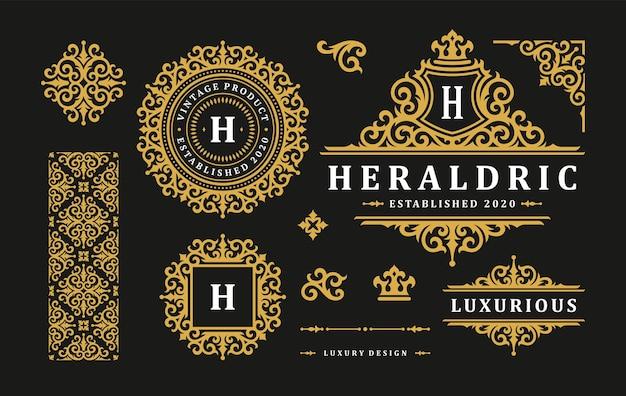 럭셔리 로고 빈티지 장식 모노그램 및 문장 템플릿 디자인 벡터 일러스트 레이 션 세트. 로얄 브랜드 비네트는 부티크 또는 레스토랑 로고에 잘 어울립니다.