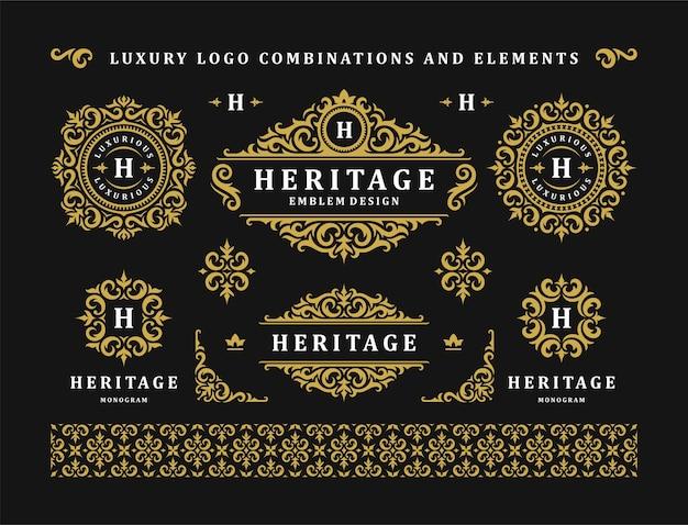 高級ロゴヴィンテージ飾りモノグラムと紋章テンプレートデザイン