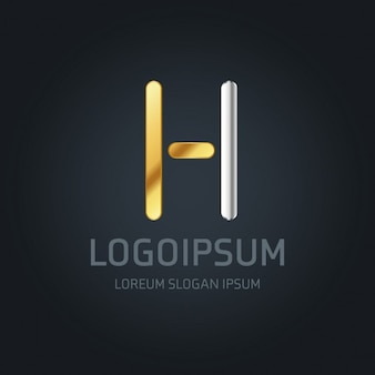 H логотип золото и серебро