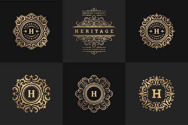 럭셔리 로고와 모노그램 크레스트 디자인 템플릿은 벡터 삽화를 설정합니다. 왕실 패션 브랜드, 호텔 사인, 부티크 또는 레스토랑 로고를 위한 화려한 서예.