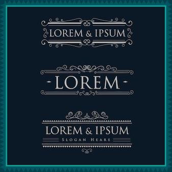 Luxury logos template calligraphy flourishes elegant