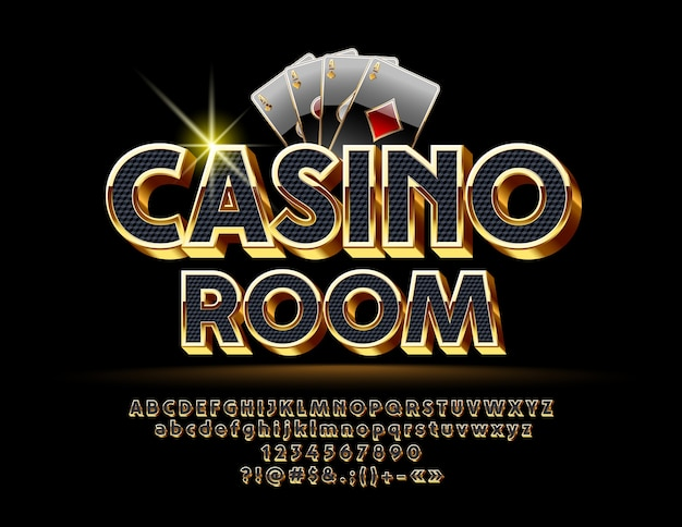 Роскошный логотип для казино с королевским шрифтом. набор черных и золотых букв, цифр и символов.