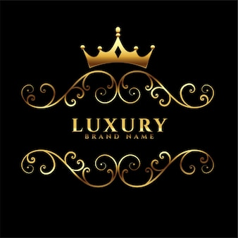 Luxury logotype with golden crown