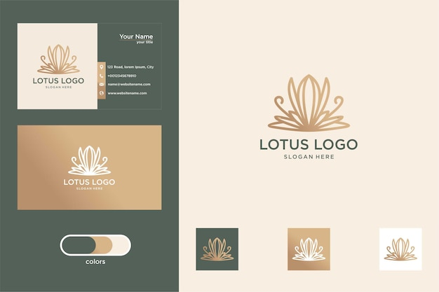 Luxury lotus flower logo design and business card