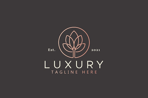 Luxury lotus golden color logo