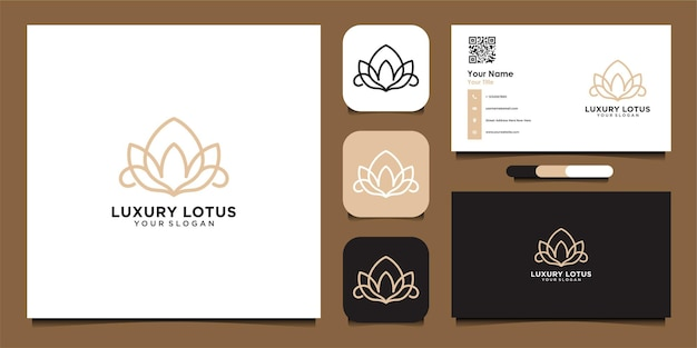 Luxury lotus logo and business card good use for fashion spa and beauty salon logopremium vector