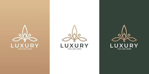 あなたのビジネスサロン、スパ、リゾート、ホテル、ファッションなどのための豪華な蓮のロゴデザインベクトル