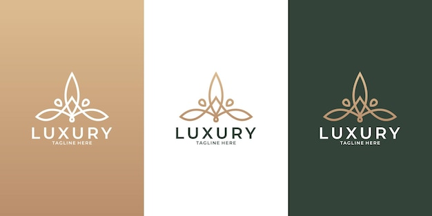 Luxury lotus logo design vector for your business saloon, spa, resort, hotel, fashion etc
